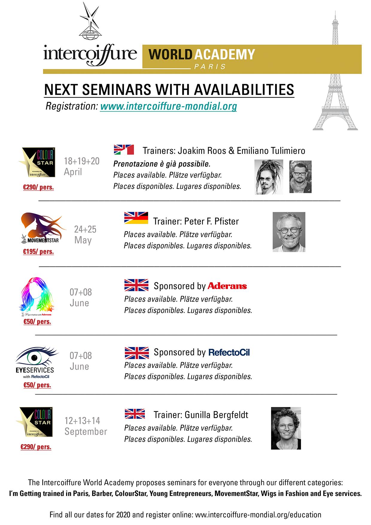 Next seminar dates 2020